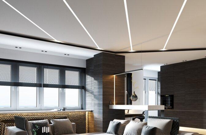 Įtempiamos lubos LED linear track