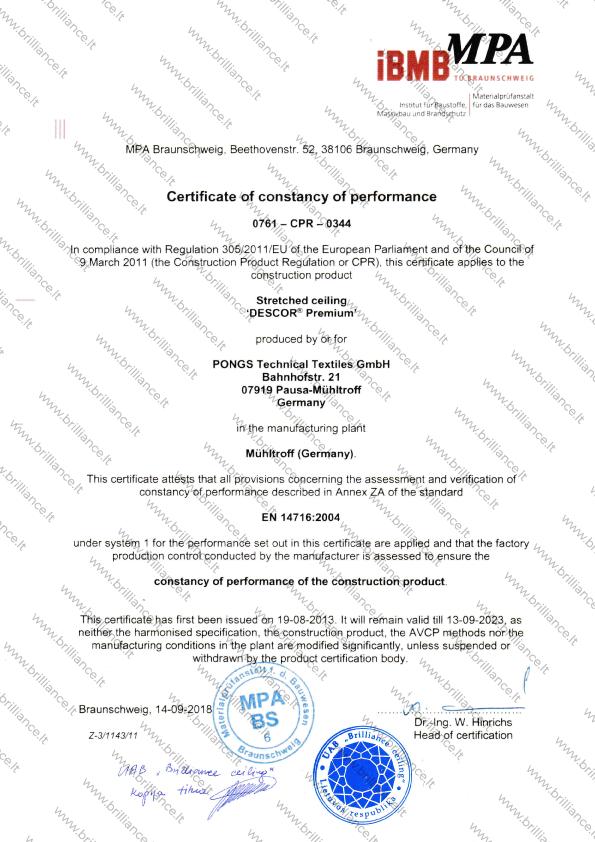 Įtempiamų lubų sertifikatas iBMB MPA