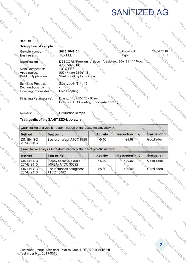 Įtempiamų lubų sertifikatas SANITIZED AG