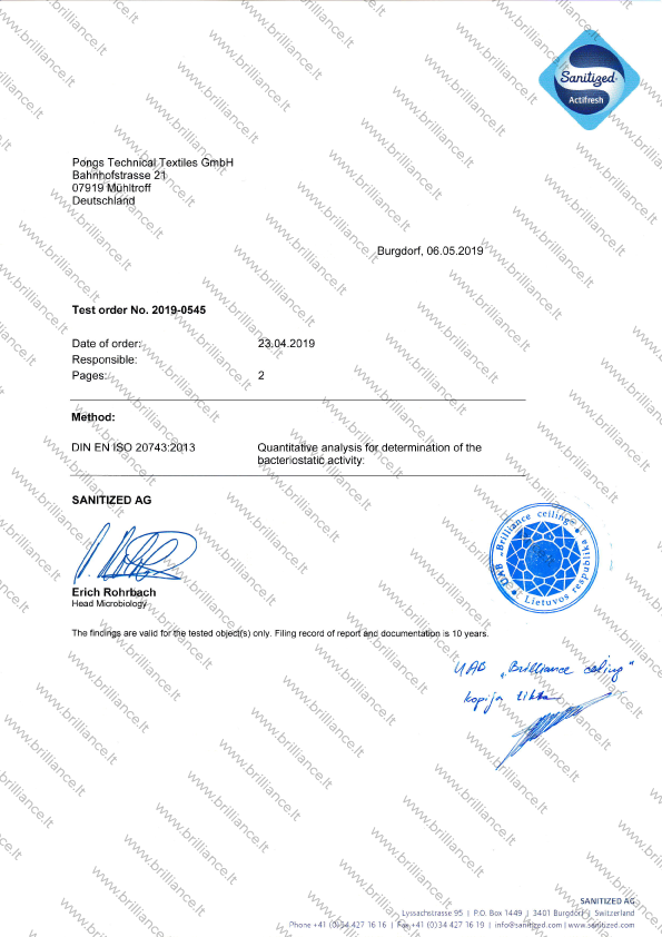 Įtempiamų lubų sertifikatas Sanitileg