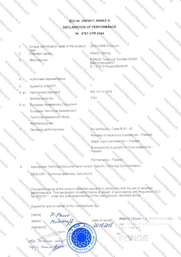 Įtempiamų lubų sertifikatas ANNEX III