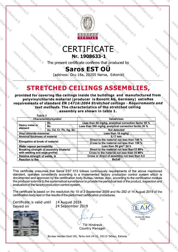 Įtempiamų lubų sertifikatas Saros EST OU