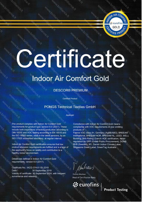 Įtempiamų lubų sertifikatas Indoor Air Comfort Gold